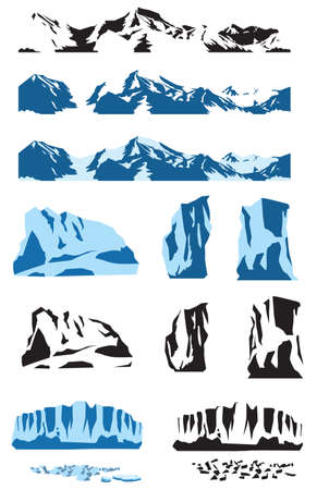 Gestileerde vector set van blokken ijs, gletsjers, ijsbergen andere vorm en de maten en naadloze horizontale met sneeuw bedekte bergen.