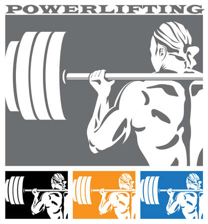 squat: Stylized vector illustration on the theme of powerlifting and weightlifting.