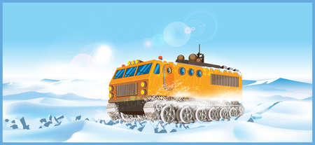 snowdrifts: ATV makes its way through the arctic snowdrifts. Background seamless horizontally if needed.