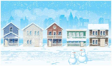 needed: Stylized vector illustration snowy suburb. Illustration seamless horizontally if needed