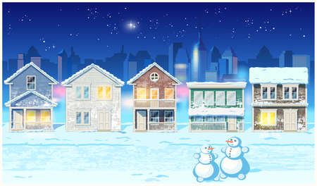 Stylized vector illustration of a winter night in the suburbs. Illustration seamless horizontally if needed Illustration