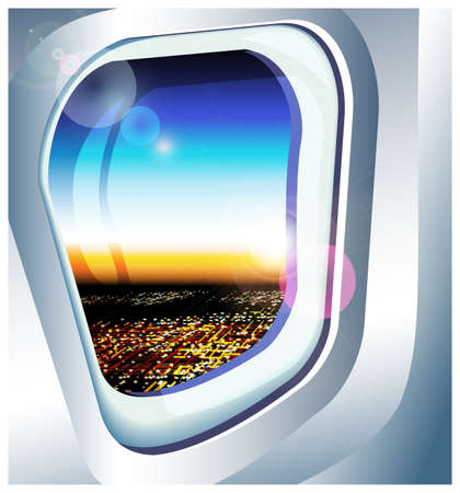 overlooking: vector illustration view from the airplane over the city at dawn Illustration