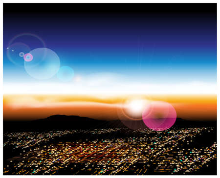 Vector illustration of a city with a birds-eye view at sunrise. Illustration seamless horizontally if needed