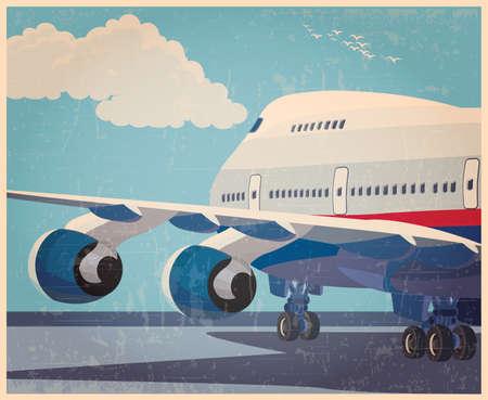 Gestileerde vector illustratie op het thema van de burgerluchtvaart. Moderne jet vliegtuig klaar om op te stijgen in de oude stijl poster.