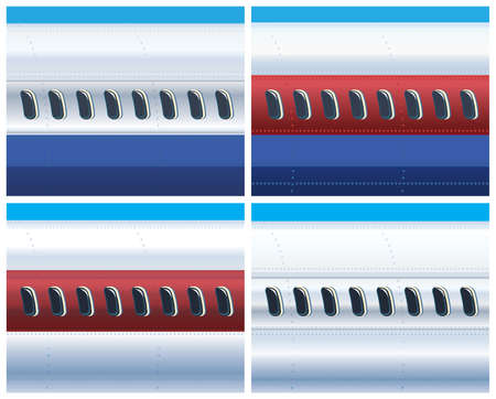 Vector illustration on the theme of aviation and air transport. The fuselage of a commercial aircraft in different colors. Illustration Seamless horizontally.