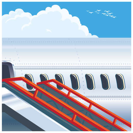 portholes: Stylized vector illustration on the theme of civil aviation. Modern jet airplane ready to take on passengers. Illustration