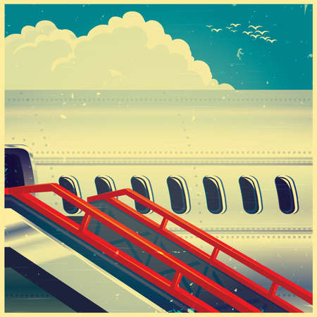 portholes: Stylized vector illustration on the theme of civil aviation. Jet airliner on an old poster, ready to take passengers