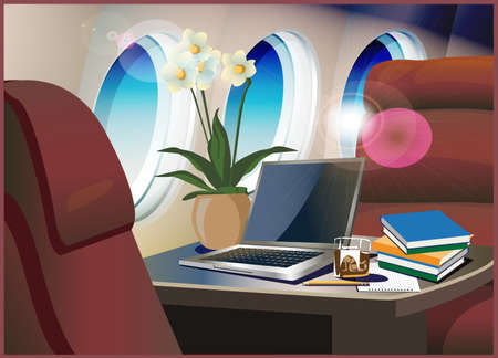private jet: Vector illustration on the theme of aviation. Interior of the private jet.