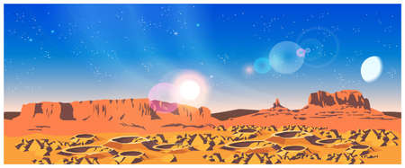 needed: Vector illustration of landscape of a distant planet. The planet is covered with craters and rocks. Illustration seamless horizontally if needed Illustration