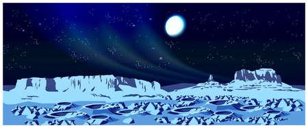 luna caricatura: Ilustraci�n del vector del paisaje de un planeta distante. El planeta est� cubierta de cr�teres y rocas
