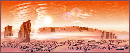 martian: Vector illustration of landscape of a Mars planet. Great Martian sandstorm with tornado. Illustration seamless horizontally if needed
