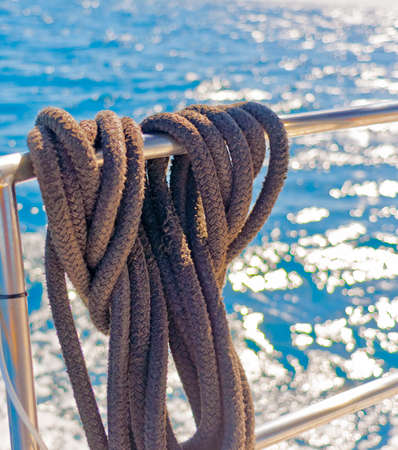 mooring: mooring ropes on board