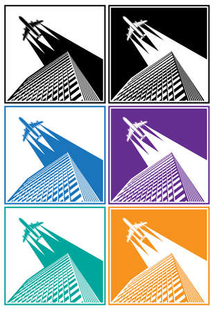 airliner: Stylized illustration of skyscrapers and flying over them airliner Illustration