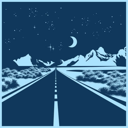 rocky road: Stylized illustration of a night route through the mountain valley Illustration