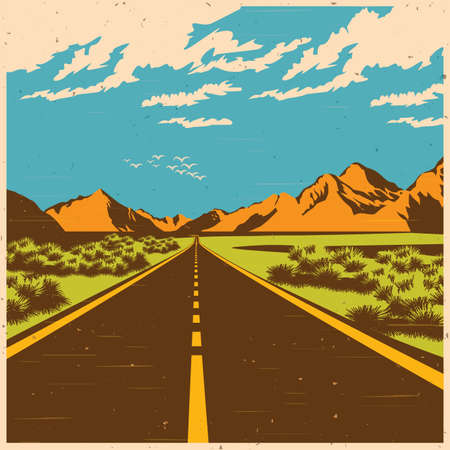 windy day: Stylized illustration of a route through the mountain valley in old poster style