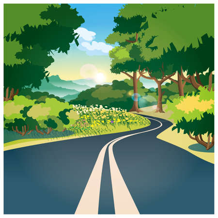 landscape road: Stylized vector illustration on the theme of the road. Road through the woods