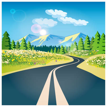 Gestileerde vector illustratie op het thema van de weg, avontuur en Journey. De weg door het veld in de bergen