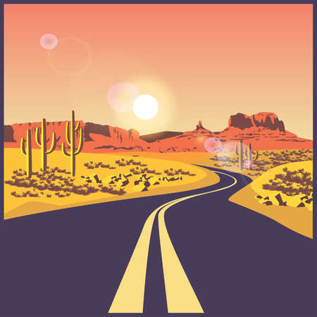 stylized vector illustration on the theme of the road, travels and trip. Desert road.  イラスト・ベクター素材