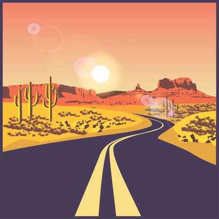 gestileerde vector illustratie op het thema van de weg, reizen en reis. Woestijn weg. Stock Illustratie