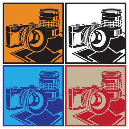 50mm: Stylized vector illustration on the theme of photography and photographic equipment. The camera and lenses