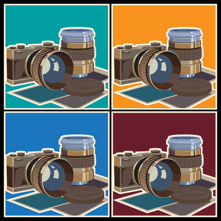 telephoto: Stylized vector illustration on the theme of photography and photographic equipment. The camera and lenses