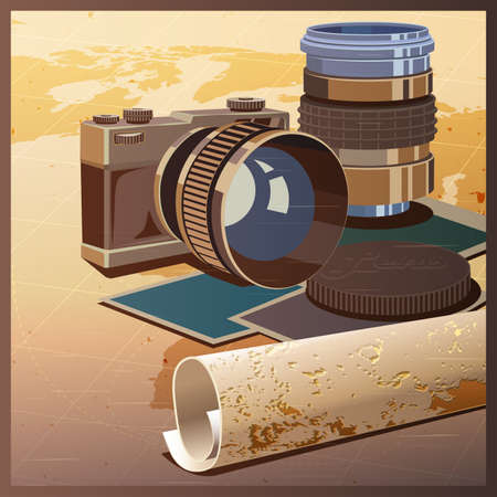 50mm: Stylized vector illustration on the theme of photography and travels. The camera, lenses and maps.