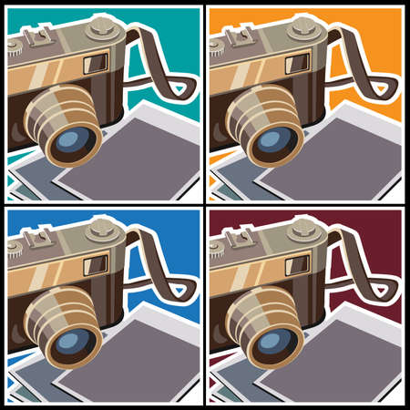 50mm: Stylized vector illustration on the theme of photography. Rangefinder camera and photos. Illustration