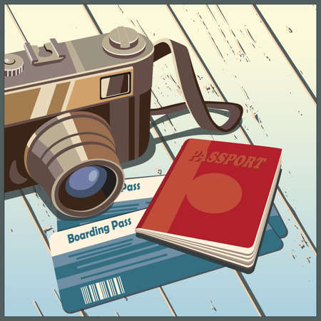 50mm: Stylized vector illustration on the theme of travel and photography Illustration