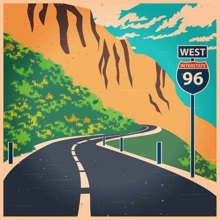 mountain road: Stylized vector illustration on the theme of travel and transport. Winding mountain road