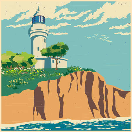 cliff: Stylized vector illustration of a lighthouse on a cliff