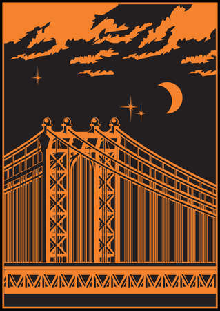 moon gate: stylized vector illustration of a large cable-stayed bridge at night
