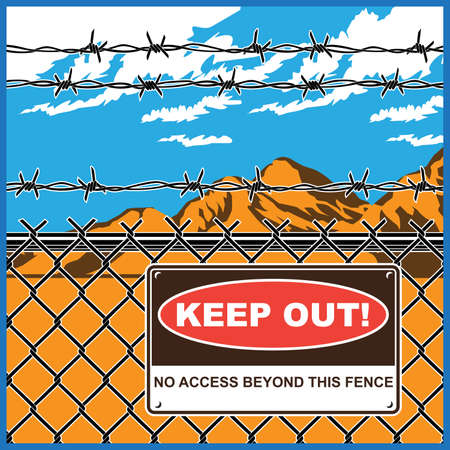 restricted area sign: Stylized vector illustration of restricted area. A fence with barbed wire and warning sign