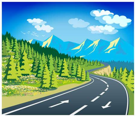 landscape road: Stylized illustration on the theme of travel in Europe Illustration