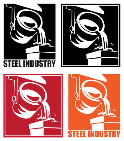 steel industry: Stylized illustration on the theme of the steel industry and heavy industry