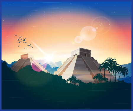 yucatan: Stylized illustration of ancient Mayan pyramids in the jungle