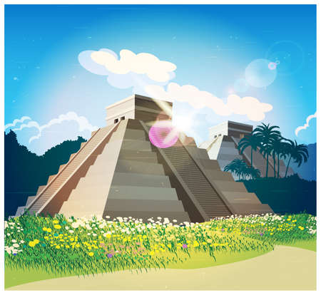 itza: Stylized illustration of ancient Mayan pyramids in the jungle