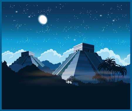 itza: Stylized illustration of ancient Mayan pyramids in the jungle at night