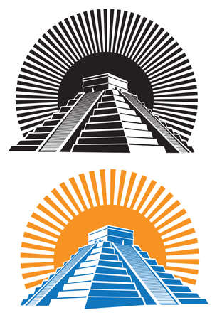 Stylized illustration of ancient Mayan pyramids