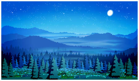 picturesque: Stylized illustration of a picturesque forest at night. Illustration seamless horizontally, if necessary