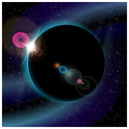 somewhere: illustration of eclipse of planet somewhere in deep space Illustration