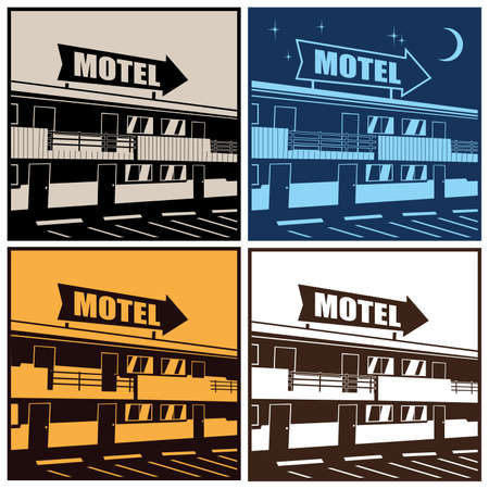 rout: Stylized illustration of the motel at different times of the day Illustration