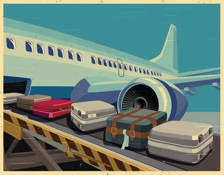 depart: Stylized illustration on the theme of civil aviation. Modern jet airplane ready to take on baggage and passengers. Illustration