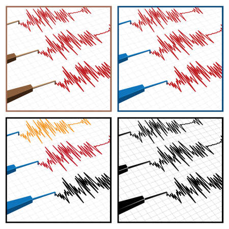 sismogr�fo: stylized illustration on the theme of seismic activity and seismograms