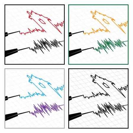 sismográfo: estilizada ilustración sobre el tema de la actividad sísmica y sismogramas