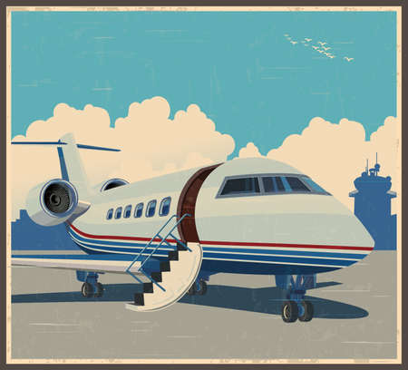 Stylized illustration on a theme of private aviation and air transport in retro poster style