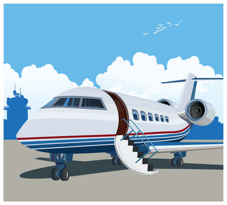 Stylized illustration on a theme of private aviation and air transport Illustration