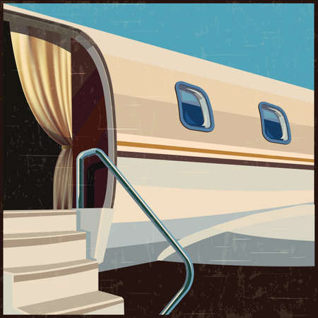 stylized illustration on a theme of private aviation and luxury air transportation in retro poster style