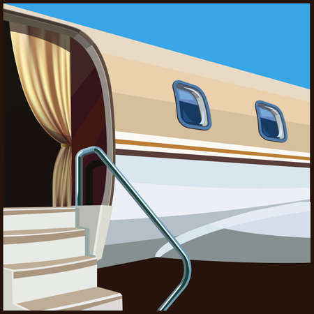 stylized illustration on a theme of private aviation and luxury air transportation