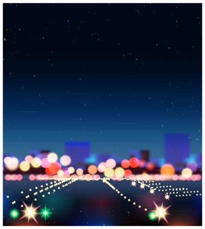 megalopolis: Realistic illustration of city street with bokeh old style poster. can be used in your design as a background or a part of the composition. Illustration