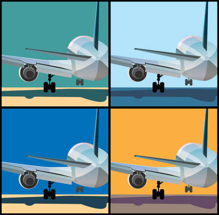 depart: Stylized illustration on the theme of aviation. Big airplane is landing or to take off Illustration